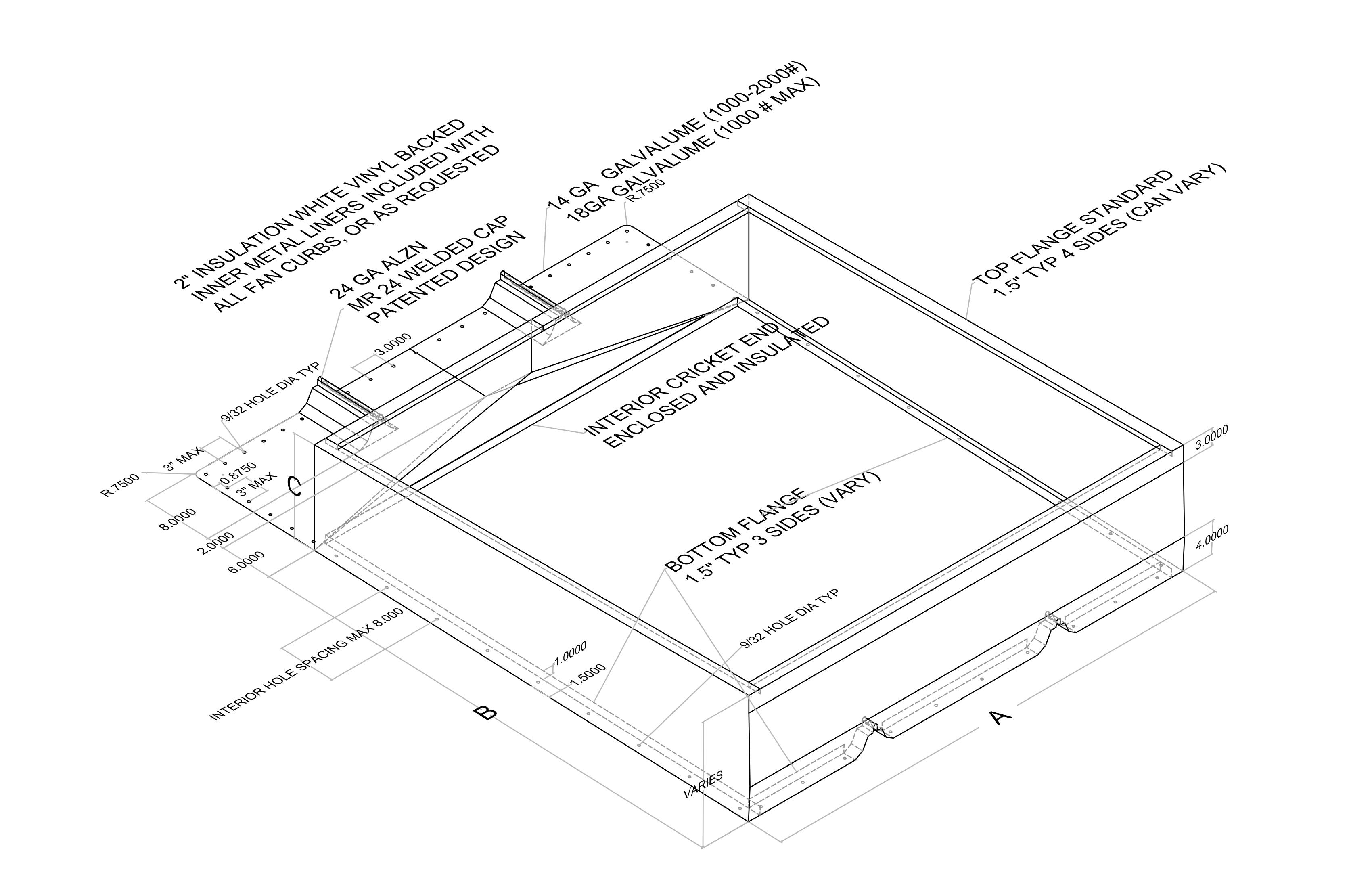 Curb Design Diagram Not Lossing Wiring Ssm Roof Curbs Standard Sheet Metal Rh Standardsheetmetal Com Coats Nc Kokomo In